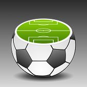 Football Ground Placed On Soccer Ball. Vector