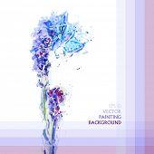 Grunge painting lavender flowers.