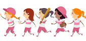 Illustration Featuring a Group of Girls Dressed in Basebal Gear Walking Across the Street