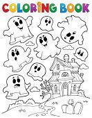 Coloring book ghost theme 2 - eps10 vector illustration.