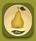 Button with  Yellow pear and  with leaf