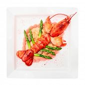 Prepared lobster on porcelain plate, isolated on white