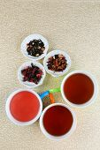 Assortment of tea on color background