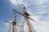 stock photo of brig  - The masts and rigging of the tall ship U - JPG