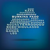 Burkina Faso map made with name of cities - vector illustration