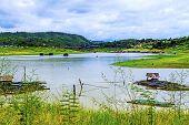 Rafts On Lake Befor Rains
