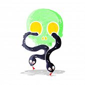cartoon skull with snakes
