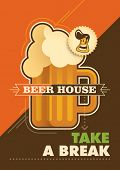 Illustrated beer house poster. Vector illustration.