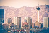 foto of strip  - Vintage Las Vegas Skyline. Las Vegas Strip From Distance. Vintage Color Grading. Nevada United States.