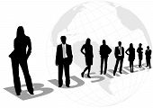 Illustration of business men and women, with world map as background