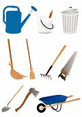 Set of gardening tools isolated on white background