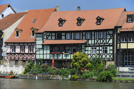 foto of regnitz  - Bamberg is a very famous old town in Germany - JPG