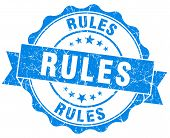 Rules Blue Grunge Seal Isolated On White