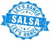 Salsa Dance Blue Grunge Seal Isolated On White