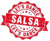 Salsa Dance Red Grunge Seal Isolated On White