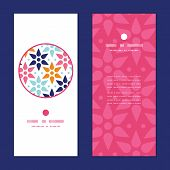 Vector abstract colorful stars vertical round frame pattern invitation greeting cards set