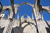 stock photo of carmelite  - famous Carmo Church ruins after the earthquake in 1755 in Lisbon Portugal - JPG