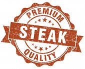 Steak Brown Grunge Seal Isolated On White