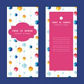 Vector abstract hanging jewels striped vertical frame pattern invitation greeting cards set