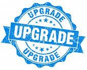 Upgrade Blue Grunge Seal Isolated On White