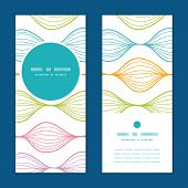 Vector colorful horizontal ogee vertical round frame pattern invitation greeting cards set