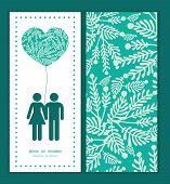 Vector emerald green plants couple in love silhouettes frame pattern invitation greeting card templa
