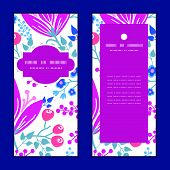 Vector pink flowers vertical frame pattern invitation greeting cards set