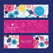 Vector fairytale flowers horizontal banners set pattern background