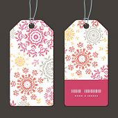Vector folk floral circles abstract vertical stripe frame pattern tags set