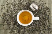 White cup of black tea