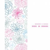 Vector gray and pink lineart florals vertical frame seamless pattern background