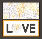 Vector magical floral love text frame pattern invitation greeting card template