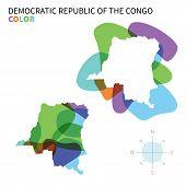 Abstract vector color map of Democratic Republic Congo.