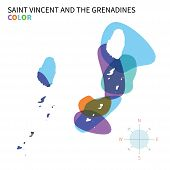 Abstract vector color map of Saint Vincent and the Grenadines with transparent paint effect.