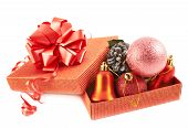Red gift box full of decorations