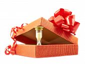 Sandglass and gift box composition isolated
