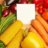 Vegetables and copyspace white card