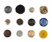 Multiple cloth buttons isolated
