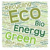 Concept or conceptual ecology, recycle or energy text word cloud isolated on background