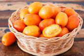 Fruit Jocote ( Siriguela, Red, Purple Mombin, Sineguela, Hog Plum, Ciruela Huesito) In Wicker Basket