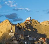 Namgyal Tsemo Monastery In The Leh At The Sunset