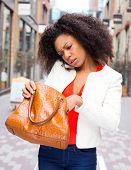 looking in handbag