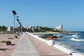 image of gulf mexico  - View of the promenade on the eastern shore of the ocean in Isla Mujeres - JPG