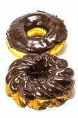Variery Of Fresh Donuts On White Background