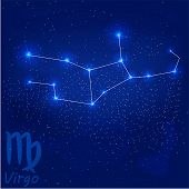 foto of virgo  - vector illustration of constellation Virgo on a blue background - JPG