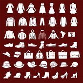 Set Icons Of Women Fashion Dresses And Men Clothing