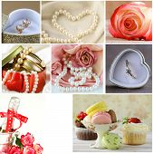 collage of wedding accessories (ring, cake, bouquet of flowers, earrings, pearl)