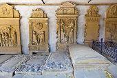 Historic Gravestones In Cemetery Of Medieval City Marktbreit