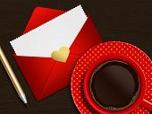 Coffee With Valentines Card Over Wooden Table