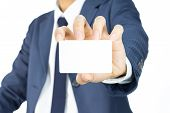 Businessman Hold Business Card Or White Card Isolated On White Background